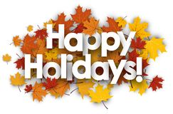 Happy holidays background with maple leaves. Stock Images