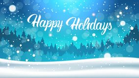 Happy Holidays Background Night In Winter Forest Landscape Falling Snow. Flat Vector Illustration Royalty Free Stock Photo