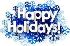 Happy holidays background with snowflakes. White happy holidays background with blue snowflakes. Vector illustration stock illustration