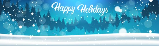 Happy Holidays Banner Background Winter Forest Landscape Night Falling Snow Pine Trees Woods. Flat Vector Illustration Royalty Free Stock Images