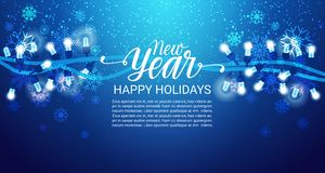 Happy Holidays Banner New Year Lettering Blue Shiny Background With Copy Space Winter Decoration. Flat Vector Illustration Royalty Free Stock Photo