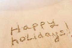 Happy holidays on beach. Happy holidays on the beach stock image