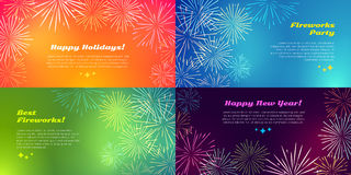 Happy Holidays. Best Fireworks Party. New Year. Happy holidays. Best fireworks party. Happy New Year. Salute elements. Fireworks festival. Vector illustration Stock Images