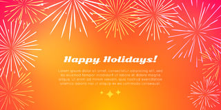 Happy Holidays. Best Fireworks. Salute Elements. Happy holidays banner in flat style with best fireworks salute elements. Fireworks festival with kinds of Royalty Free Stock Photography