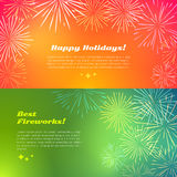 Happy Holidays. Best Fireworks. Salute Elements. Happy holidays best fireworks salute elements for fireworks festival. Vector illustration banners in flat style Stock Photos