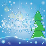 Happy holidays blue background. Stock Photo