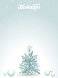 Happy holidays blue background with Christmas tree Royalty Free Stock Photo