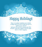 Happy holidays blue background with snowflakes Royalty Free Stock Photos