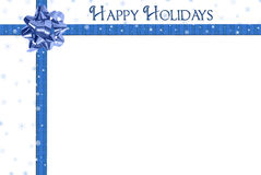 Happy Holidays blue bow Royalty Free Stock Photos