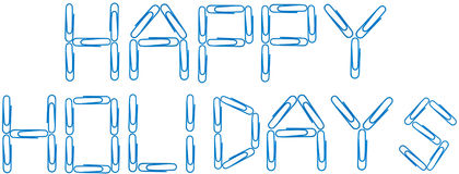 Happy holidays blue paper clips royalty free stock images