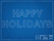 Happy Holidays - Blueprint Royalty Free Stock Photo
