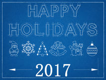 Happy Holidays 2017 - Blueprint Stock Photo