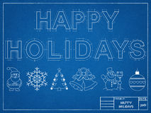 Happy Holidays 2016 - Blueprint. Shoot of the Christmas - Happy Holidays 2016 - Blueprint Stock Photos
