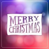 Happy Holidays Calligraphic Design Label on defocus background. Stock Image