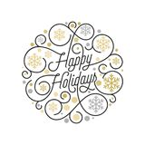 Happy Holidays calligraphy lettering and golden snowflake pattern on white background for Xmas greeting card design. Vector golden. Christmas flourish swash for Royalty Free Stock Photo