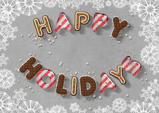Happy Holidays. Candy letters greeting Happy Holidays Royalty Free Stock Photography