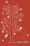 Happy Holidays Card. Vector Happy Holiday Christmas tree stock illustration