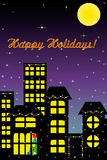 Happy Holidays Card. Silhouettes of Buildings Against Holiday Night Sky Vector Illustration
