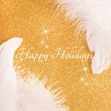 Happy holidays card. Christmas card with happy holidays on golden background Stock Image