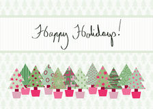 Happy Holidays Card. Handwritten Happy Holidays Card in modern color scheme with hand-drawn Christmas tree design Stock Image