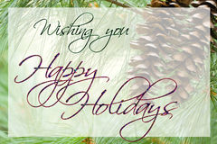 Happy Holidays Card. With pine cone background Stock Images