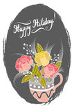 Happy Holidays card with abstract flowers. Vector illustration Royalty Free Stock Photo