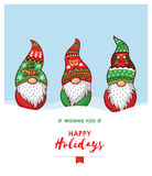Happy Holidays card with Christmas gnomes in red, green hat. Happy Holidays card with trolls gnomes. Cute cartoon vector illustration. Christmas characters Royalty Free Stock Photo