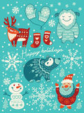 Happy holidays card. Christmas set with cartoon characters. Vector illustration Stock Images