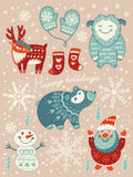 Happy holidays card. Christmas set with cartoon characters. Vector illustration Stock Image