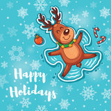 Happy Holidays card with cute cartoon deer - snow angel Royalty Free Stock Images