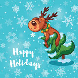 Happy Holidays card with cute cartoon deers Stock Photography
