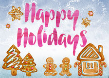 Happy Holidays. Card with cute gingerbread scene vector illustration