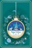 Happy holidays card with dear. Vector illustration in retro design vector illustration