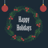 Happy holidays card design with leaves and berries Royalty Free Stock Photography