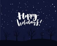 Happy holidays card design. Night sky with falling snow and trees. Happy holidays card design. Night sky with falling snow and trees Royalty Free Stock Photography
