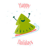 Happy Holidays card with fun Christmas tree on sledges. Vector. Illustration Royalty Free Stock Photography