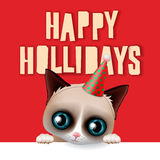 Happy holidays card with fun grumpy cat Stock Photography