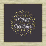 Happy Holidays card. With gold glitter stars. Vector illustration Stock Photography