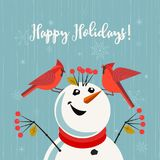 Happy holidays card. Red Northern Cardinal birds, comic snowman. Cute cartoon. Winter birds of backyard, city garden. Stylized sign. New year event banner Royalty Free Stock Photography