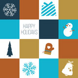 'Happy Holidays' card / Holiday Icons. Vector illustrations Stock Photos