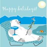 Happy holidays card with polar bear and fish kebab. On a beach Stock Image
