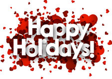 Happy holidays card. With red hearts. Vector paper illustration Stock Images