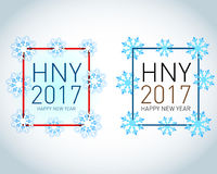 Happy holidays card with snow flakes and color figures 2017. 2017 new year card. 2017 snow number illustration.  Vector Illustration