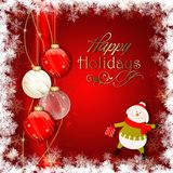 Happy Holidays card with snowman . Happy Holidays card with snowman and balls Stock Images