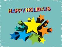 Happy holidays card. With wavy background Stock Photos