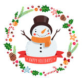 Happy holidays cartoon snowman in a hat with Christmas wreath vector card Royalty Free Stock Image