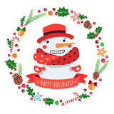 Happy holidays cartoon snowman in a red hat with Christmas wreath vector card Stock Photography