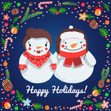 Happy Holidays cartoon snowmen couple vector card Stock Photos