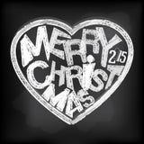 Happy holidays chalk heart shape message at blackboard stock illustration