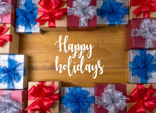 Happy holidays cheerful greeting good Happy  greeting card Celeb Stock Image